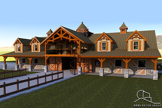 Horse barn with living quarters floor plans dmax design for Horse barn with apartment plans