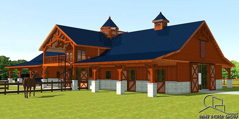 Carolina 01 Horse Barn with Living Quarters Floor Plans ...