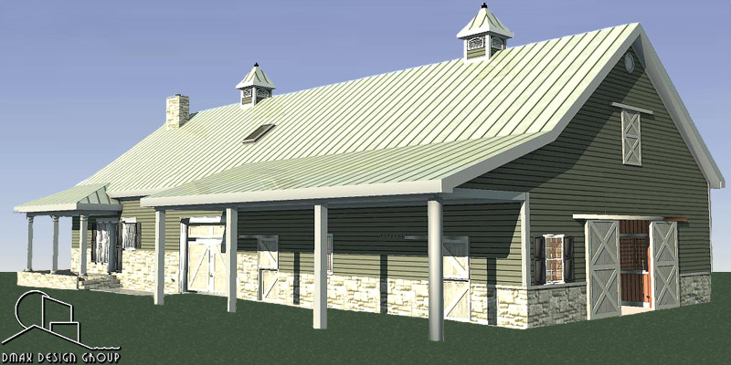 Horse Barn With Living Quarters Floor Plans: Texan 03 Horse Barn With Living Quarters Floor Plans