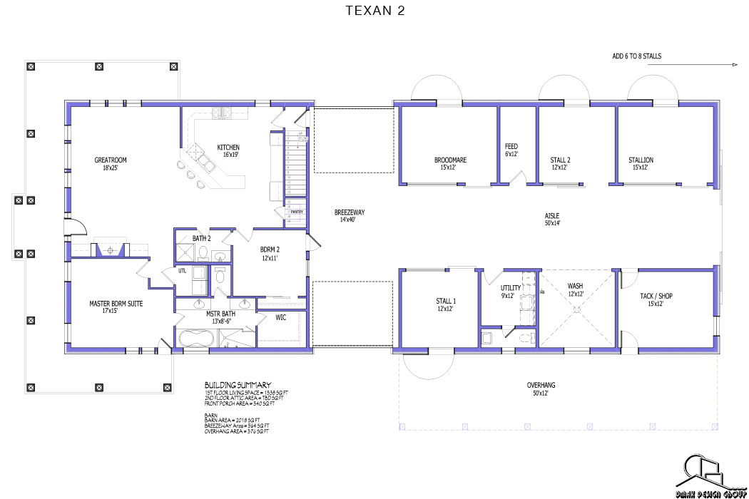 Texan 02 Horse Barn With Living Quarters Floor Plans Dmax Design Group