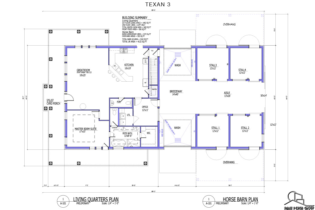 Texan 03 Horse Barn With Living Quarters Floor Plans Dmax Design Group
